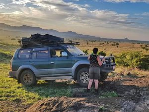 Toyota Prado with Roof Top Tent for Tanzania Camping safari